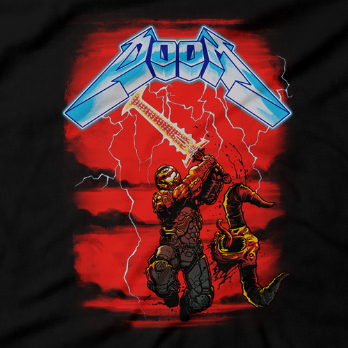 Heavy Metal Tees by Draculabyte l Made from 100% cotton, this unisex t-shirt rocks. Black T-shirt in sizes from small to 6X. Metal, Demon, Hell, Doom, Doomguy, Hellspawn, Art, Clothes, Shirt, Doom Eternal, Nintendo 64, PS4, PC, DOS, 90s, Doom 2, Doom 64, BFG, metallica, FPS, John Carmack, Shooter, Rip and Tear, Cacodemon, Cyberdemon, 1993