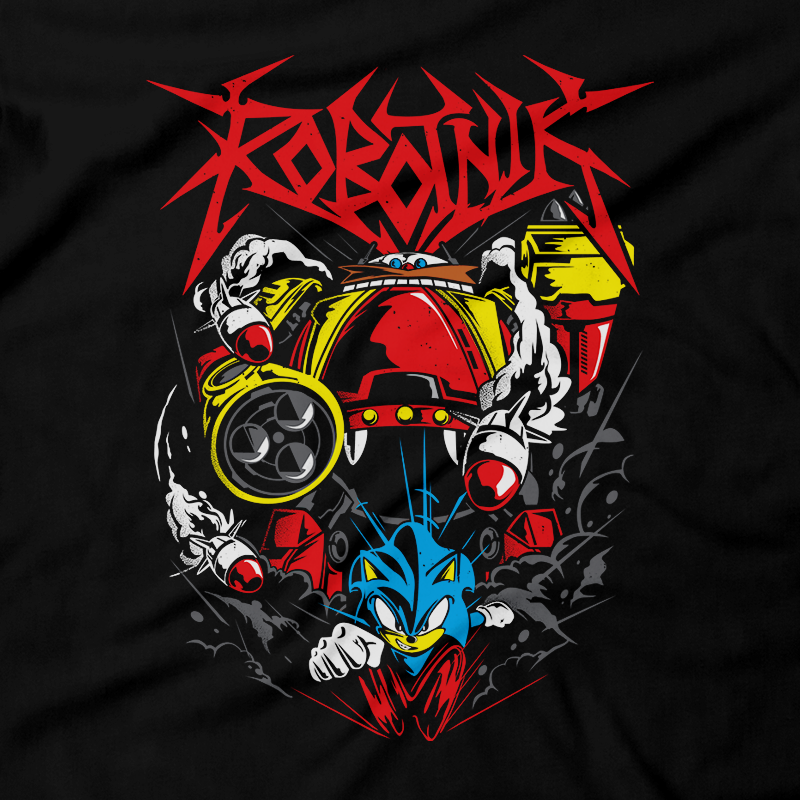 Heavy Metal Tees by Draculabyte l Made from 100% cotton, this unisex t-shirt rocks. Black T-shirt in sizes from small to 6X. Metalheads, Graphic Art, Video Game, 16-Bit, Eggman, Dr. Robotnik, Sonic the Hedgehog, Sonic Adventure, Movie, Film, Jim Carrey, Knuckles, Tails, Robot, Machine, Colors, Heroes, Amy, Final Boss, Mania, Nintendo, Sega Genesis, Dreamcast