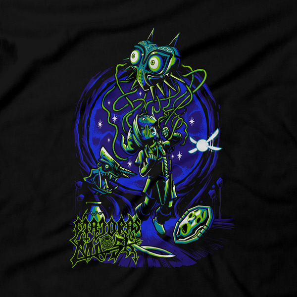 Heavy Metal Tees by Draculabyte l Made from 100% cotton, this unisex t-shirt rocks. Black T-shirt in sizes from small to 6X. Metalheads, Skull Kid, Retro Gamer, Graphic Art, Video Games, Breath of the Wild, Ganon, TLOZ, Moon, Hyrule, Ocarina of Time, OOT, Majora's Mask, Nintendo 64 Shirt, Hyrule, Triforce, N64, Link, Termina, Zora, Mayhem, The Legend of Zelda