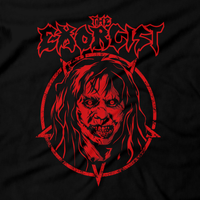 Heavy Metal Tees by Draculabyte l Made from 100% cotton, this unisex t-shirt rocks. Black T-shirt in sizes from small to 6X. Horror, Movie, Film, Scary, Halloween, Evil, Bloody, Killer, Murder, Terrior, Monster, The Exorcist, Regan, Possessed, Demon, Cross, Puke, Throw Up, Girl, 1973, exorcism, Georgetown, Death, Priest, Clothes