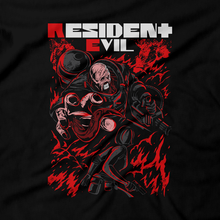 Load image into Gallery viewer, Heavy Metal Tees by Draculabyte l Made from 100% cotton, this unisex t-shirt rocks. Black T-shirt in sizes from small to 6X. Evil, Metalheads, RE, Biohazard, Umbrella, Racoon City, Leon Kennedy, Jill Valentine, Zombie, Resident Evil, 4, 7, 2, Chris Redfield, Survival Horror, T-Virus, Nemesis, Rammstein, Fire, Carlos, Resident Evil 3