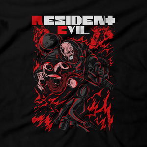 Heavy Metal Tees by Draculabyte l Made from 100% cotton, this unisex t-shirt rocks. Black T-shirt in sizes from small to 6X. Evil, Metalheads, RE, Biohazard, Umbrella, Racoon City, Leon Kennedy, Jill Valentine, Zombie, Resident Evil, 4, 7, 2, Chris Redfield, Survival Horror, T-Virus, Nemesis, Rammstein, Fire, Carlos, Resident Evil 3