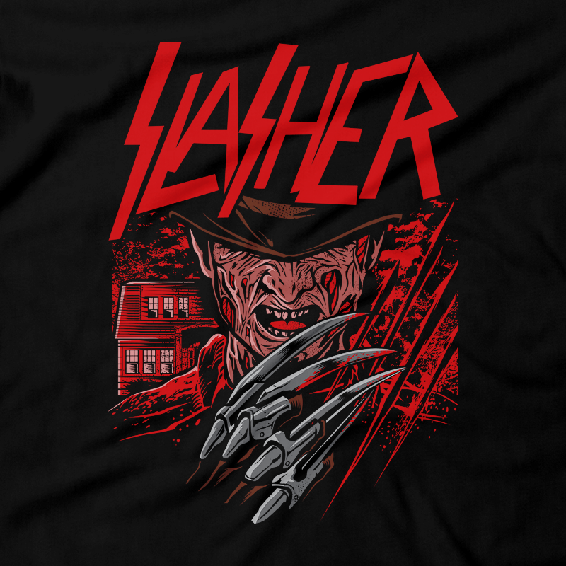 Heavy Metal Tees by Draculabyte l Made from 100% cotton, this unisex t-shirt rocks. Black T-shirt in sizes from small to 6X. Horror, Movie, Film, Scary, Halloween, Evil, Bloody, Killer, Murder, Terror, Monster, Elm Street, A Nightmare on Elm Street, Freddy Krueger, Dream, Sleep, Stay Awake, Jason Voorhees, 80s, Shirt, Clothes