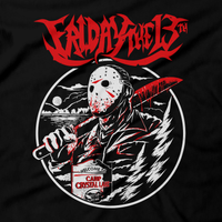Heavy Metal Tees by Draculabyte l Made from 100% cotton, this unisex t-shirt rocks. Black T-shirt in sizes from small to 6X. Horror, Movie, Film, Scary, Halloween, Evil, Bloody, Killer, Murder, Terror, Jason Voorhees, Friday the 13th, Camp Crystal Lake, Mask, Knife, Freddy VS Jason, Pamela, Counselor, Slasher, Shirt, Clothes