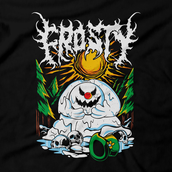 Heavy Metal Tees by Draculabyte l Made from 100% cotton, this unisex t-shirt rocks. Black T-shirt in sizes from small to 6X. Christmas, Gift, Tree, Snow, Holiday, Santa Claus, Present, Cookies, Best Gift, Frosty the Snowman, Snow, Melt, Melting, Kids, Winter, Sad, Dead, Death, Skull, Classic Cartoon, Best Gift, Shirt, Clothes