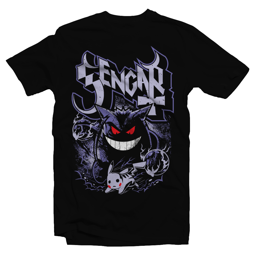Heavy Metal Tees by Draculabyte l Made from 100% cotton, this unisex t-shirt rocks. Black T-shirt in sizes from small to 6X. Pokemon, Nintendo, Gengar, Poison, Ghost Type, Pikachua, Shadow, Blue, Red, Moon, Retro, Video Games, Gamer, Card, Sun, Game Boy Ghost Band, Papa Emeritus, Nintendo Shirt, Switch, Sword and Shield, Graphic Art.