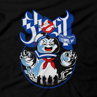 Heavy Metal Tees by Draculabyte l Made from 100% cotton, this unisex t-shirt rocks. Black T-shirt in sizes from small to 6X. Ghostbusters inspired design with Slimer, Slime, Peter Venkman, Raymond Stantz, Egon Spengler, Who Ya Gonna Call, Zuul, New York, Logo, Stay Puft, 80s Movie, 1980s, Ghost Band, Papa Emeritus, Namco, Horror, Art