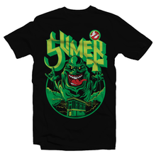 Load image into Gallery viewer, Heavy Metal Tees by Draculabyte l Made from 100% cotton, this unisex t-shirt rocks. Black T-shirt in sizes from small to 6X. Ghostbusters inspired design with Slimer, Slime, Peter Venkman, Raymond Stantz, Egon Spengler, Who Ya Gonna Call, Zuul, New York, Logo, Stay Puft, 80s Movie, 1980s, Ghost Band, Papa Emeritus, Namco, Horror, Art
