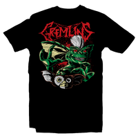Heavy Metal Tees by Draculabyte l Made from 100% cotton, this unisex t-shirt rocks. Black T-shirt in sizes from small to 6X. Horror, Movie, Film, Scary, Halloween, Evil, Killer, Stripe, , Hungry, Gremlins, Gizmo, 80s, Shirt, Clothes, 1984, New Batch, Wet, Kingston Falls, Mogwai, Randall Peltzer, Mohawk, Monster, Cute, Adorable
