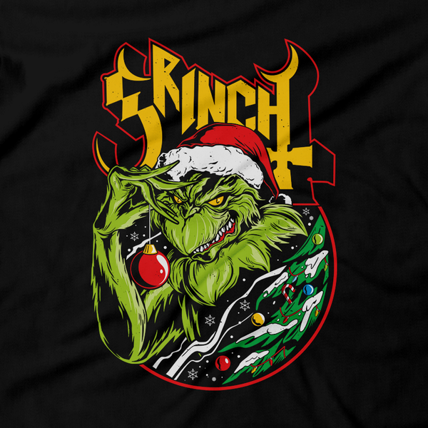 Heavy Metal Tees by Draculabyte l Made from 100% cotton, this unisex t-shirt rocks. Black T-shirt in sizes from small to 6X. Christmas, Gift, Tree, Snow, Holiday, Santa Claus, Present, Frosty the Snowman, How the Grinch Stole Christmas, The Grinch, Dog, Heart, Cindy Lou, Dr. Seuss, Max, Thief, Steal, Whos, Best Gift, Shirt, Clothes