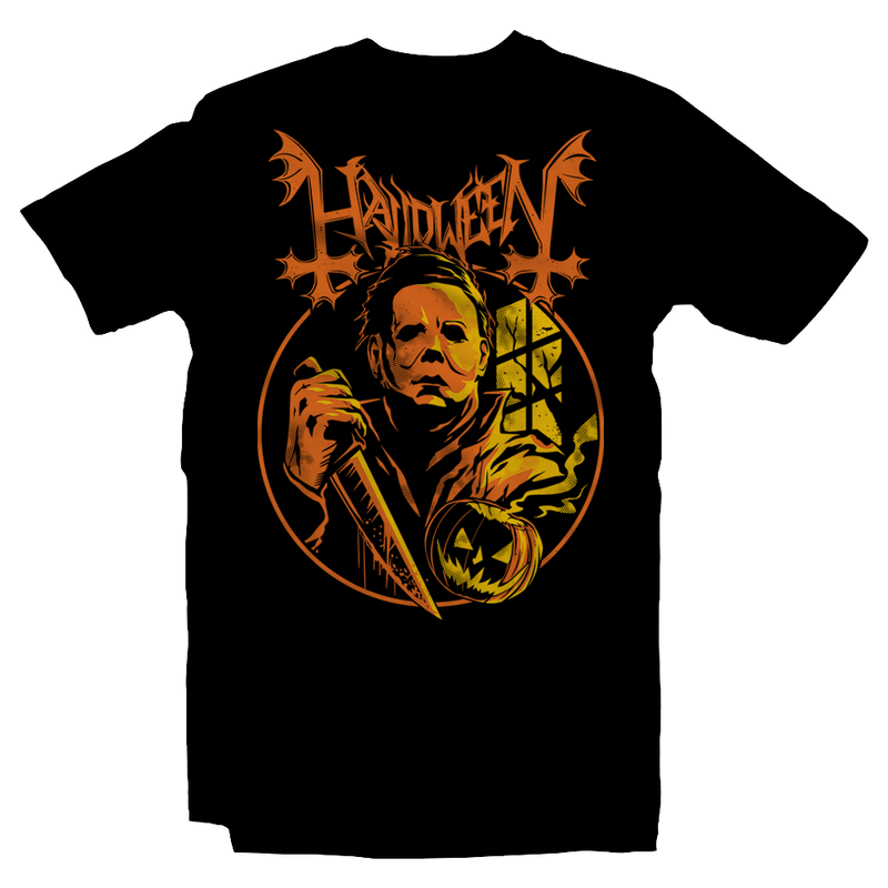 Heavy Metal Tees by Draculabyte l Made from 100% cotton, this unisex t-shirt rocks. Black T-shirt in sizes from small to 6X. Horror, Movie, Film, Scary, Halloween, Evil, Bloody, Killer, Murder, Terror, Halloween, Michael Myers, Boogey Man, 1978, Laurie, Loomis, Candy, October, Knife, Haddonfield, The Shape, Death Shirt, Clothes