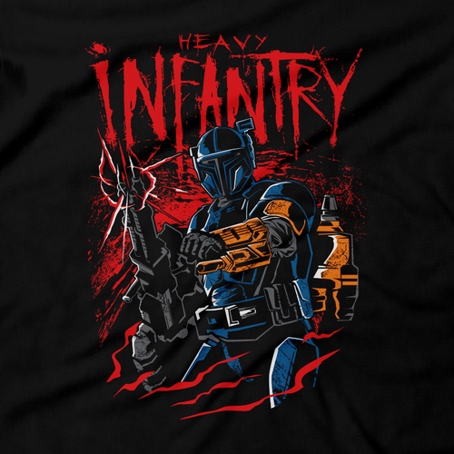 Heavy Metal Tees by Draculabyte l Made from 100% cotton, this unisex t-shirt rocks. Black T-shirt in sizes from small to 6X. Metalheads, Graphic Art, Rock, Movie, Film, Sci-Fi, Yoda, Baby Yoda, Bounty Hunter, TV Show, Jedi, Mandalorian, Warrior, Boba Fett, Disney, Darth Vader, Han Solo, Princess Leia, Heavy Infantry, Blaster, Episode 3, This is the way
