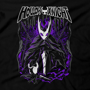 Heavy Metal Tees by Draculabyte l Made from 100% cotton, this unisex t-shirt rocks. Black T-shirt in sizes from small to 6X. Metalheads - Gamer, Bugs, Beetle, Hollow Knight, Failed Champion, False Knight, Maggot, Insects, Adventure, Metroidvania, Team Cherry, Vessel, Ghost, Nameless, Mask Shards, Hallownest, Dream Nail, Radiance, Hornet, The Grimm Troupe