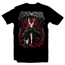 Load image into Gallery viewer, Heavy Metal Tees by Draculabyte l Made from 100% cotton, this unisex t-shirt rocks. Black T-shirt in sizes from small to 6X. Metalheads - Gamer, Bugs, Beetle, Hollow Knight, Failed Champion, False Knight, Maggot, Insects, Adventure, Metroidvania, Team Cherry, Vessel, Ghost, Nameless, Mask Shards, Hallownest, Dream Nail, Radiance, Hornet, The Grimm Troupe