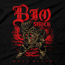 Load image into Gallery viewer, Heavy Metal Tees by Draculabyte l Made from 100% cotton, this unisex t-shirt rocks. Black T-shirt in sizes from small to 6X. Metalheads, Graphic Art, Boss, Rock and Roll, Holy Diver, Bioshock, Big Daddy, Little Sister, Dio, Rapture, City, Water, Mister Bubbles, Mr., Andrew Ryan, System Shock, RPG, Horror, Adam, Atlantic Ocean, City, Dr. Tenenbaum, Harvest
