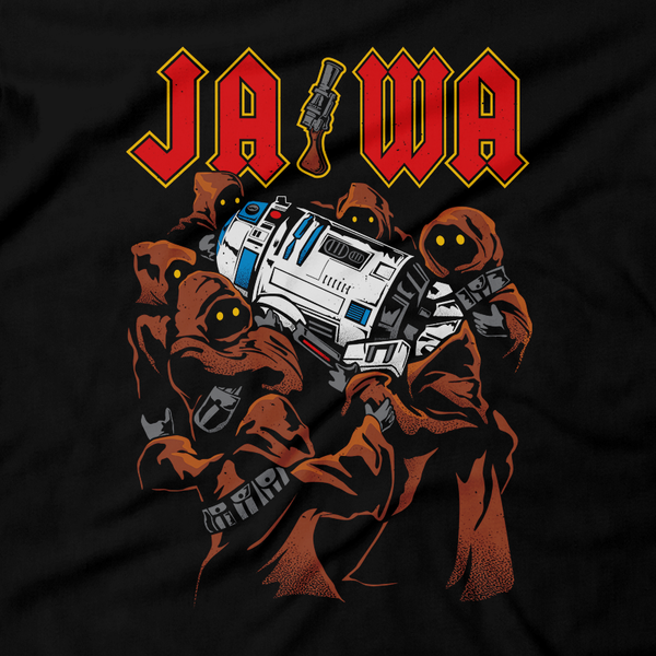 Heavy Metal Tees by Draculabyte l Made from 100% cotton, this unisex t-shirt rocks. Black T-shirt in sizes from small to 6X. Metalheads, Graphic Art, Rock, Movie, Film, Sci-Fi, Yoda, Baby Yoda, Jedi, The Force, Mandalorian, Boba Fett, C-3PO, R2D2, BB8, The Droids, Star Wars, Luke Skywalker, Princess Leia, Jawas, Jawa, Sand Crawler, Album, Music, Horns