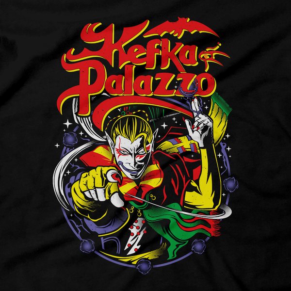 Heavy Metal Tees by Draculabyte l Made from 100% cotton, this unisex t-shirt rocks. Black T-shirt in sizes from small to 6X. Final Fantasy, FF VI, JRPG, Japan, Kefka Palazzo, Videogames, SNES, Super Nintendo, FF 6, Playstation, Insane, Clown, Jester, Dissidia, Final Boss, Shirt, Cosplay, Gamer, PS1, Shop Graphic Art.