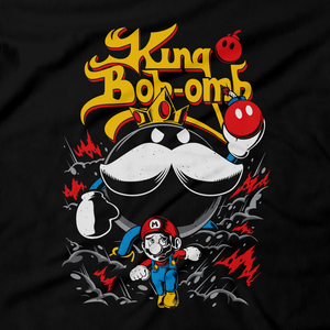 Heavy Metal Tees by Draculabyte l Made from 100% cotton, this unisex t-shirt rocks. Black T-shirt in sizes from small to 6X. Nintendo, Super Mario Bros, Mario, Super Mario, Smash Bros, NES, SNES, N64, Rock, Retro Gamer, Retro Gaming, Graphic Art, Shirt, Clothing, King Bob Omb, Super Mario 64, Nintendo 64, 90s, Bowser, Boss, Mario Kart
