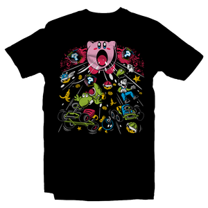 Heavy Metal Tees by Draculabyte l Made from 100% cotton, this unisex t-shirt rocks. Black T-shirt in sizes from small to 6X.  Super Mario, SMB, Super Mario 64, Mario Kart 64, Retro, Video Games, Gamer, MK8, SNES, Nintendo Shirt, Switch, N64, Graphic Art, Kirby, Yoshi, Luigi, Weapon, Bomb, Suck, Dreamland, Super Smash Bros, N64, Korn, Music