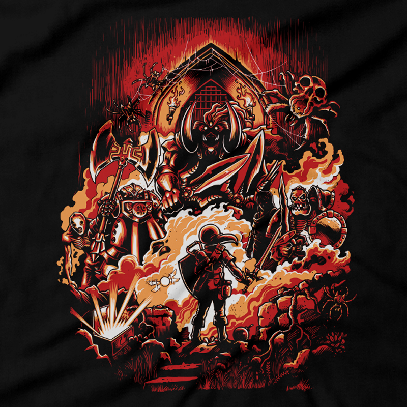 Heavy Metal Tees by Draculabyte l Made from 100% cotton, this unisex t-shirt rocks. Black T-shirt in sizes from small to 6X. Metalheads - Retro Gamer, Graphic Art, Video Games, Breath of the Wild, Boss, Ganon, Ganondorf, TLOZ, Hyrule, King, Ocarina of Time, OOT, Majora's Mask, Nintendo Shirt, Hyrule, Triforce, NES, The Legend of Zelda, Dark, Skull Kid