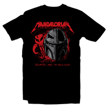 Load image into Gallery viewer, Heavy Metal Tees by Draculabyte l Made from 100% cotton, this unisex t-shirt rocks. Black T-shirt in sizes from small to 6X. Metalheads, Graphic Art, Rock, Movie, Film, Sci-Fi, Yoda, Baby Yoda, Bounty Hunter, TV Show, Mandalorian, Warrior, Boba Fett, Disney, Darth Vader, Plus, Princess Leia, Heavy Infantry, Blaster, Episode 3, This is the way, Metallica