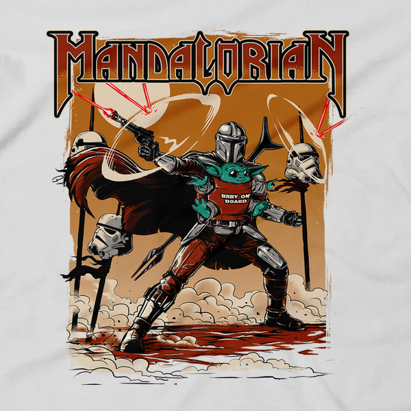 Heavy Metal Tees by Draculabyte l Made from 100% cotton, this unisex t-shirt rocks. Black T-shirt in sizes from small to 6X. Graphic Art, Rock, Movie, Film, Sci-Fi, Yoda, Baby Yoda, Bounty Hunter, TV Show, Mandalorian, Warrior, Boba Fett, Darth Vader, Plus, Princess Leia, Blaster, Episode 3, This is the way, Season 2, Music, Cute, The Child, Best