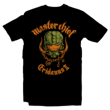 Load image into Gallery viewer, Heavy Metal Tees by Draculabyte l Made from 100% cotton, this unisex t-shirt rocks. Black T-shirt in sizes from small to 6X. Metalheads, Graphic Art, Spartan, Halo 2, 3, Motorhead, Master Chief, Grunts, John 117, Overkill, Halo: Combat Evolved, Final Boss, Bungie Studios, Red VS Blue, Covenant, Arbiter, 343, Cortana, Microsoft Xbox One, Warthog, Infinite