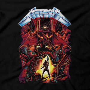 Heavy Metal Tees by Draculabyte l Made from 100% cotton, this unisex t-shirt rocks. Black T-shirt in sizes from small to 6X. Metalheads, Sci-Fi, Science Fiction, SNES, NES, Bounty Hunter, Mother Brain, Kraid, Zebes, Prime, Zero Suit, Alien, Ridley, Smash Bros, Retro Gamer, Graphic Art, Space, Super Nintendo, Metallica, Metroid, Samus Aran