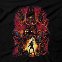 Load image into Gallery viewer, Heavy Metal Tees by Draculabyte l Made from 100% cotton, this unisex t-shirt rocks. Black T-shirt in sizes from small to 6X. Metalheads, Sci-Fi, Science Fiction, SNES, NES, Bounty Hunter, Mother Brain, Kraid, Zebes, Prime, Zero Suit, Alien, Ridley, Smash Bros, Retro Gamer, Graphic Art, Space, Super Nintendo, Metallica, Metroid, Samus Aran