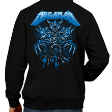 Load image into Gallery viewer, This unisex hoodie rocks. Black Hoodie For Men or Women. Sizes S to 5X - Metal, Nintendo, Metalheads, Blue Bomber, SNES, NES, Nintendo, 8 Bit, 80s, 1980s, Rockman, Japan, Japanese, Megaman, Mega Man X, Retro Wave, 90s, 16 Bit, Run and Jump, Boss, Retro Gamer, Graphic Art. Robot