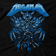 Load image into Gallery viewer, Heavy Metal Tees by Draculabyte l Made from 100% cotton, this unisex t-shirt rocks. Black T-shirt in sizes from small to 6X. Metal, Metalheads, Blue Bomber, Switch, SNES, NES, Nintendo, 8 Bit, 80s, 1980s, Rockman, Japan, Japanese, Megaman, Mega Man X, Retro, Wave, 90s, 16 Bit, Jump and Run, Boss