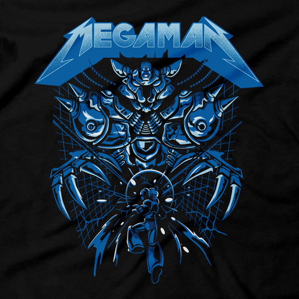 Heavy Metal Tees by Draculabyte l Made from 100% cotton, this unisex t-shirt rocks. Black T-shirt in sizes from small to 6X. Metal, Metalheads, Blue Bomber, Switch, SNES, NES, Nintendo, 8 Bit, 80s, 1980s, Rockman, Japan, Japanese, Megaman, Mega Man X, Retro, Wave, 90s, 16 Bit, Jump and Run, Boss