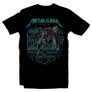 Heavy Metal Tees by Draculabyte l Made from 100% cotton, this unisex t-shirt rocks. Black T-shirt in sizes from small to 6X. Metalheads, Graphic Art, Video Game, Metal Gear Solid, MGS, Solid Snake, PS1, Playstation, Twin Snakes, Rex, Ninja, Ocelot, Psycho Mantis, Metallica, Battle, VR Missions, Shadow Moses, Big Boss, Liquid, Peace Walker, PS4, PS2, MGS2