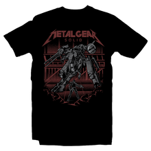 Load image into Gallery viewer, Heavy Metal Tees by Draculabyte l Made from 100% cotton, this unisex t-shirt rocks. Black T-shirt in sizes from small to 6X. Metalheads, Graphic Art, Video Game, Metal Gear Solid, MGS, Solid Snake, PS1, Playstation, Twin Snakes, Rex, Ninja, Ocelot, Psycho Mantis, Metallica, Battle, VR Missions, Shadow Moses, Big Boss, Liquid, Peace Walker, PS4, PS2, MGS2