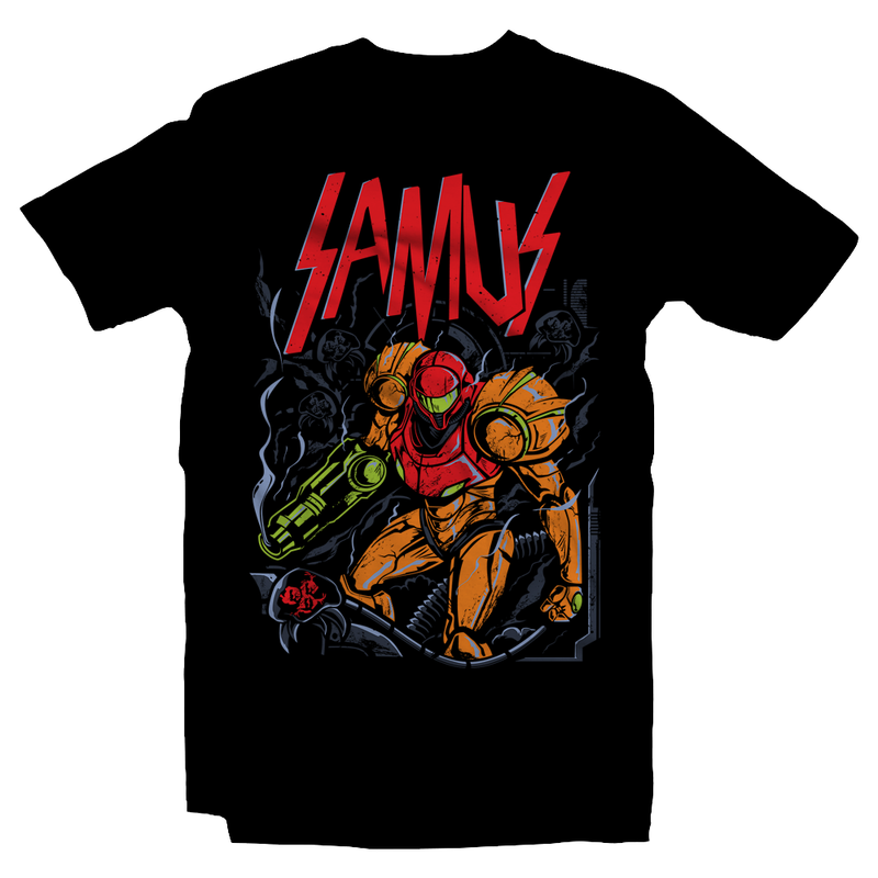 Heavy Metal Tees by Draculabyte l Made from 100% cotton, this unisex t-shirt rocks. Black T-shirt in sizes from small to 6X. Metalheads, Metroid, Samus Aran, Sci-Fi, Science Fiction, SNES, NES, Bounty Hunter, Mother Brain, Zebes, Prime, Zero Suit, Alien, Ridley, Smash Bros, Retro Gamer, Graphic Art, Space, Super Nintendo, Slayer