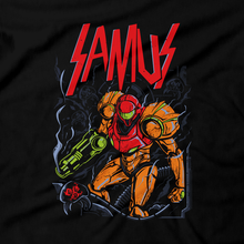 Load image into Gallery viewer, Heavy Metal Tees by Draculabyte l Made from 100% cotton, this unisex t-shirt rocks. Black T-shirt in sizes from small to 6X. Metalheads, Metroid, Samus Aran, Sci-Fi, Science Fiction, SNES, NES, Bounty Hunter, Mother Brain, Zebes, Prime, Zero Suit, Alien, Ridley, Smash Bros, Retro Gamer, Graphic Art, Space, Super Nintendo, Slayer