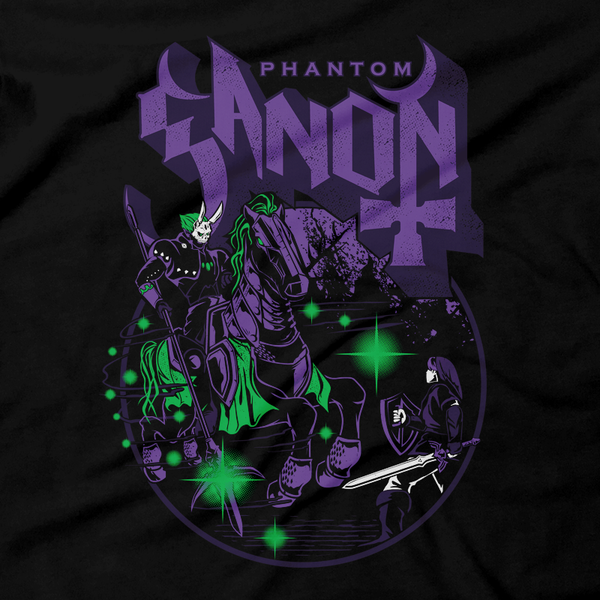 Heavy Metal Tees by Draculabyte l Made from 100% cotton, this unisex t-shirt rocks. Black T-shirt in sizes from small to 6X. The Phantom Ghost, Zelda, Nintendo design. Ocarina of Time, Metalheads, Ganon, Ganondorf, Hyrule, Triforce, Graphic Art.