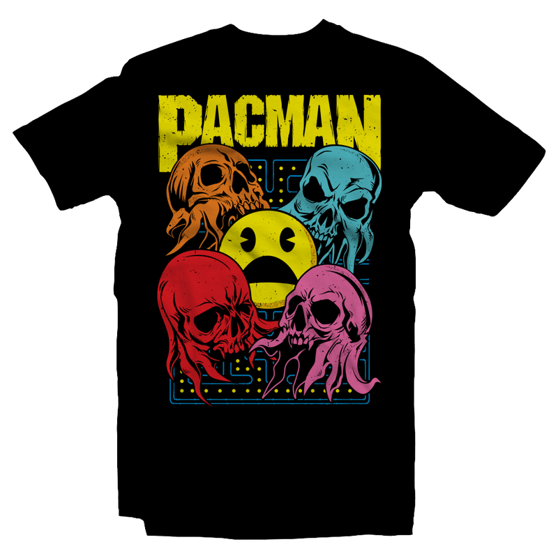 Heavy Metal Tees by Draculabyte l Made from 100% cotton, this unisex t-shirt rocks. Black T-shirt in sizes from small to 6X. Pac Man sinpred design with Ghosts, Inky, Pinky, Blinky, Clyde, Sci-Fi, Pac-Man, Space, Death, Pacman, Arcade, 80s, 1980s, Astronaut, Nasa, Skull, Skeleton, Ghost Band, Papa Emeritus, Namco, Ghouls, Horror, Art