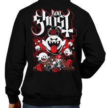 Load image into Gallery viewer, This unisex hoodie rocks. Black Hoodie For Men or Women. Sizes S to 5X - The Haunted Ghost House. King Boo, Ghost, Super Mario, SMB, Mario 3, Super Mario 64, Mario Kart, Mario Kart 64, Retro, Video Games, Gamer, Ghost Band, Papa Emeritus, MK8, Odyssey, SNES, Shirt Nintendo Shirt, Switch, N64, Graphic Art. Metalheads, Shirt