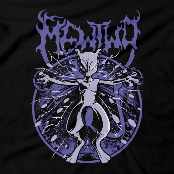 Heavy Metal Tees by Draculabyte l Made from 100% cotton, this unisex t-shirt rocks. Black T-shirt in sizes from small to 6X. Metalheads, Graphic Art, Boss, Rock and Roll, Nintendo Switch, Gameboy, DS, Advance, Pokemon, Red, Blue, Green, Yellow, Telekenesis, Mewtwo, Fire Type, Psychic Type, Shirt, Sword and Shield, Sun, Moon, Team Rocket, Ash, Marduk, Mew