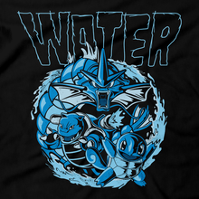 Load image into Gallery viewer, Heavy Metal Tees by Draculabyte l Made from 100% cotton, this unisex t-shirt rocks. Black T-shirt in sizes from small to 6X. Metalheads, Graphic Art, Boss, Rock and Roll, Nintendo Switch, Gameboy, 3DS, DS, Advance, Wii, Pokemon, Red, Blue, Green, Yellow, Gyarados, Squirtle, Blastoise, Wartortle, Psyduck, Water Type, Fire, Shirt, Danzig, Sword and Shield