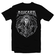 Load image into Gallery viewer, Heavy Metal Tees by Draculabyte l Made from 100% cotton, this unisex t-shirt rocks. Black T-shirt in sizes from small to 6X. Metal, Metalheads, Gamer, Nes, Nintendo, Pixel, 8-Bit, 1980s, Castlevania, Simon Belmont, Vampire Killer, Dracula's Curse, SOTN, Alucard, Skull, Symphony of the Night, Slayer, Vampire Hunter, Graphic Art