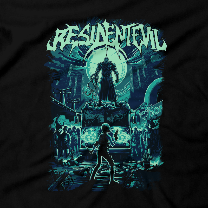 Heavy Metal Tees by Draculabyte l Made from 100% cotton, this unisex t-shirt rocks. Black T-shirt in sizes from small to 6X. Evil, Metalheads, RE, Biohazard, Umbrella, Racoon City, Leon Kennedy, Jill Valentine, Zombie, Resident Evil, 4, 7, 2, Chris Redfield, Survival Horror, T-Virus, Nemesis, Rock and Roll, Fire, Carlos, Resident Evil 3