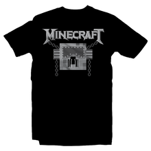 Load image into Gallery viewer, Heavy Metal Tees by Draculabyte l Made from 100% cotton, this unisex t-shirt rocks. Black T-shirt in sizes from small to 6X. Evil, Metalheads, Metal Heads, Blocks, Survial, Crafting, Building, Minecraft, Microsoft, Xbox, Playstation, Nintendo, Switch, Mobile Phone, Clothes, Pixel, Mojang, Megadeth, Rest in Peace, Windows, Multiplayer, Kids