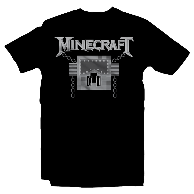 Heavy Metal Tees by Draculabyte l Made from 100% cotton, this unisex t-shirt rocks. Black T-shirt in sizes from small to 6X. Evil, Metalheads, Metal Heads, Blocks, Survial, Crafting, Building, Minecraft, Microsoft, Xbox, Playstation, Nintendo, Switch, Mobile Phone, Clothes, Pixel, Mojang, Megadeth, Rest in Peace, Windows, Multiplayer, Kids