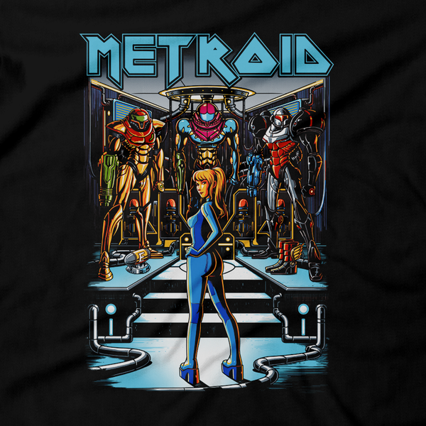 Heavy Metal Tees by Draculabyte l Made from 100% cotton, this unisex t-shirt rocks. Black T-shirt in sizes from small to 6X. Metalheads, Sci-Fi, Science Fiction, SNES, NES, Bounty Hunter, Zebes, Prime, Zero Suit, Alien, Ridley, Smash Bros, Retro Gamer, Graphic Art, Phazon, Fusion, Super Nintendo, Iron Maiden, Metroid, Samus Aran