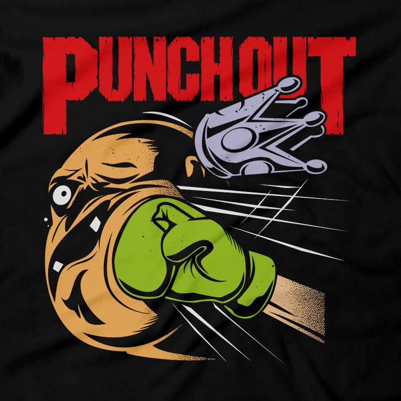 Heavy Metal Tees by Draculabyte l Made from 100% cotton, this unisex t-shirt rocks. Black T-shirt in sizes from small to 6X. Punch, Boxing, TKO, Fighting, Retro Gamer, Retro Gaming, Graphic Art, Shirt, Nintendo, NES, 8-Bit, King Hippo, Lil Mac, Little Mac, Punch Out, Punch-Out, Mario, Super Nintendo, SNES, Wii, Mike Tyson, Pantera, Walk