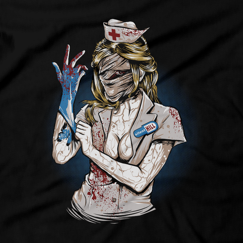 Heavy Metal Tees by Draculabyte l Made from 100% cotton, this unisex t-shirt rocks. Black T-shirt in sizes from small to 6X. Video Games, Gamer, Red, Cult, Silent Hill, Silent Hill 2, Silent Hill 3, Playstation 1, One, PS1, PS2, Playstation 2, Movie, Film, Nurses, Dogs, Fog, Shirt, Art, Heather, Bloody, The Room, Evil