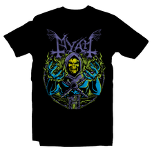 Load image into Gallery viewer, Heavy Metal Tees by Draculabyte l Made from 100% cotton, this unisex t-shirt rocks. Black T-shirt in sizes from small to 6X. Metalheads, Graphic Art, Boss, Rock and Roll, Mayhem, Masters of the Universe, Castle Grayskull, Skull, Skeletor, Myah, Laugh, MOTU, Cartoon, Comic,  He-Man, HeMan, Eternia, King Randor, Queen Marlena, Hordak, Keldor, Clothes, Power