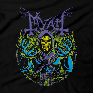 Heavy Metal Tees by Draculabyte l Made from 100% cotton, this unisex t-shirt rocks. Black T-shirt in sizes from small to 6X. Metalheads, Graphic Art, Boss, Rock and Roll, Mayhem, Masters of the Universe, Castle Grayskull, Skull, Skeletor, Myah, Laugh, MOTU, Cartoon, Comic,  He-Man, HeMan, Eternia, King Randor, Queen Marlena, Hordak, Keldor, Clothes, Power